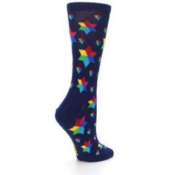 Image of Navy Multicolor Stars Women's Dress Socks (side-1-23)