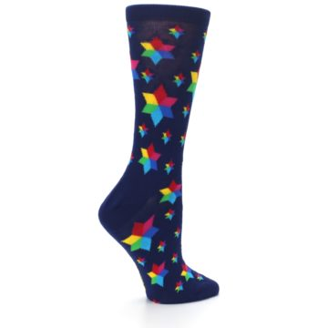 Image of Navy Multicolor Stars Women's Dress Socks (side-1-24)