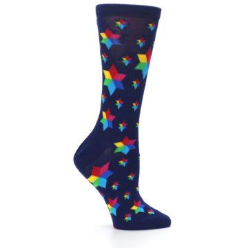 Image of Navy Multicolor Stars Women's Dress Socks (side-1-25)