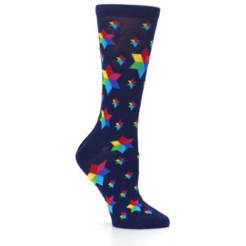 Image of Navy Multicolor Stars Women's Dress Socks (side-1-26)
