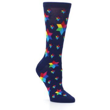 Image of Navy Multicolor Stars Women's Dress Socks (side-1-27)