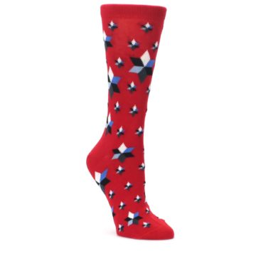 Image of Red Black Blue Stars Women's Dress Socks (side-1-front-01)