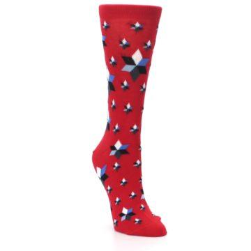Image of Red Black Blue Stars Women's Dress Socks (side-1-front-02)