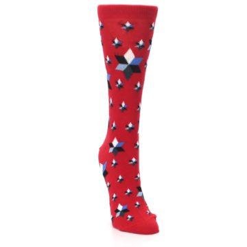 Image of Red Black Blue Stars Women's Dress Socks (side-1-front-03)
