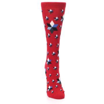 Image of Red Black Blue Stars Women's Dress Socks (front-04)