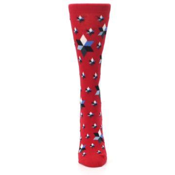 Image of Red Black Blue Stars Women's Dress Socks (front-05)