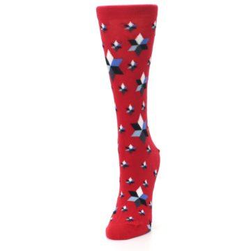 Image of Red Black Blue Stars Women's Dress Socks (side-2-front-07)