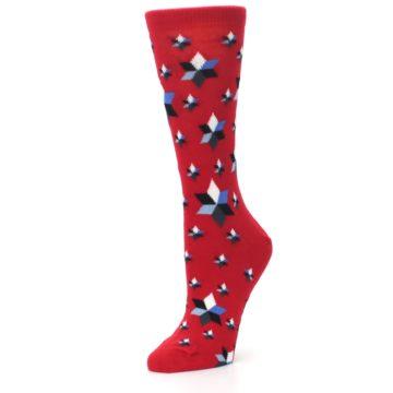 Image of Red Black Blue Stars Women's Dress Socks (side-2-09)