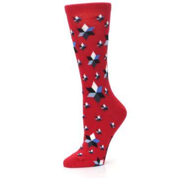 Image of Red Black Blue Stars Women's Dress Socks (side-2-10)