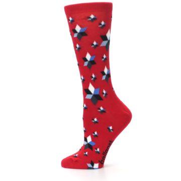Image of Red Black Blue Stars Women's Dress Socks (side-2-12)