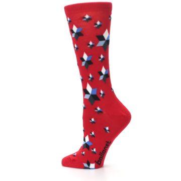 Image of Red Black Blue Stars Women's Dress Socks (side-2-13)