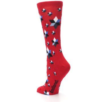 Image of Red Black Blue Stars Women's Dress Socks (side-2-back-15)