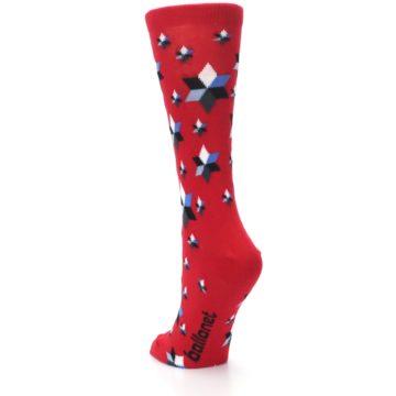 Image of Red Black Blue Stars Women's Dress Socks (side-2-back-16)