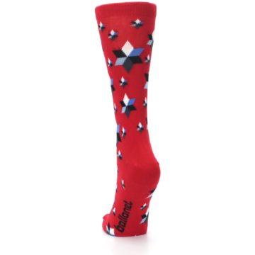 Image of Red Black Blue Stars Women's Dress Socks (back-17)