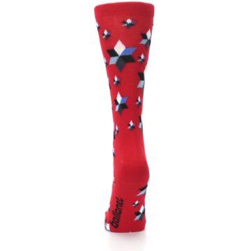 Image of Red Black Blue Stars Women's Dress Socks (back-18)
