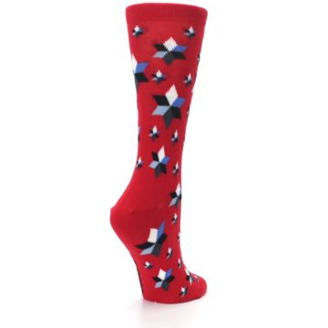Image of Red Black Blue Stars Women's Dress Socks (side-1-back-22)