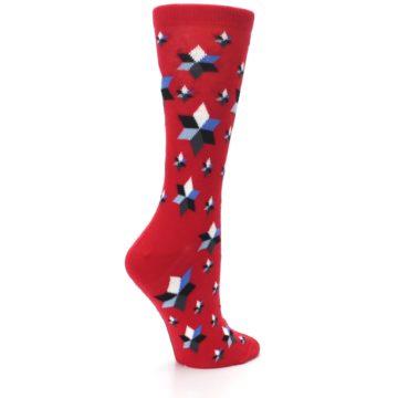 Image of Red Black Blue Stars Women's Dress Socks (side-1-23)