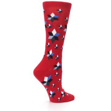 Image of Red Black Blue Stars Women's Dress Socks (side-1-24)