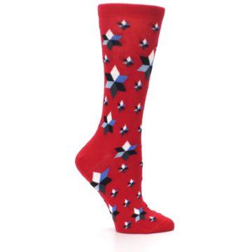 Image of Red Black Blue Stars Women's Dress Socks (side-1-25)