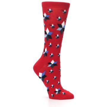 Image of Red Black Blue Stars Women's Dress Socks (side-1-26)