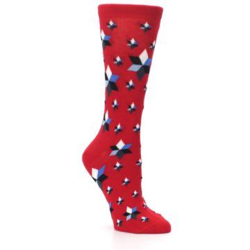 Image of Red Black Blue Stars Women's Dress Socks (side-1-27)