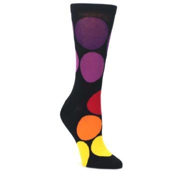 Black-Purple-Yellow-Orange-Circles-Womens-Dress-Socks-Ballonet-Socks