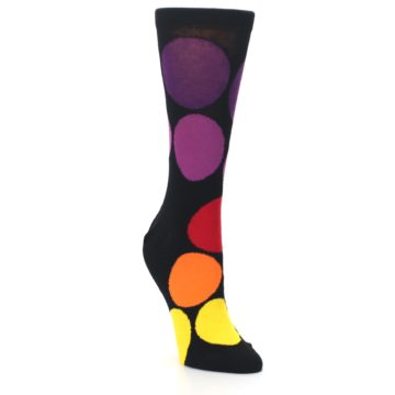Image of Black Purple Yellow Orange Circles Women's Dress Socks (side-1-front-02)