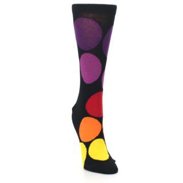 Image of Black Purple Yellow Orange Circles Women's Dress Socks (side-1-front-03)