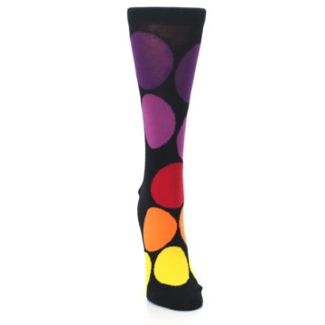 Image of Black Purple Yellow Orange Circles Women's Dress Socks (front-04)