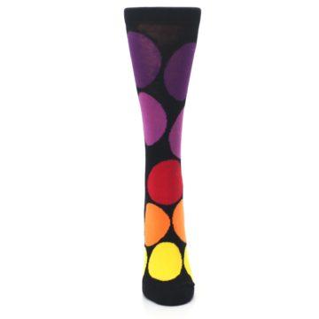 Image of Black Purple Yellow Orange Circles Women's Dress Socks (front-05)