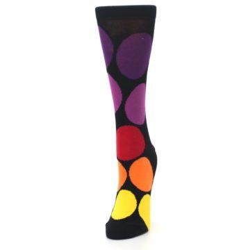 Image of Black Purple Yellow Orange Circles Women's Dress Socks (side-2-front-07)