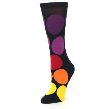 Image of Black Purple Yellow Orange Circles Women's Dress Socks (side-2-09)