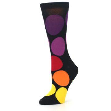 Image of Black Purple Yellow Orange Circles Women's Dress Socks (side-2-10)