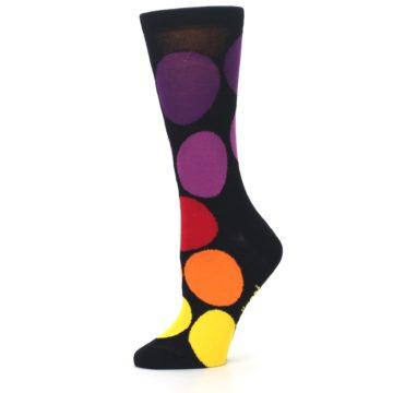 Image of Black Purple Yellow Orange Circles Women's Dress Socks (side-2-11)