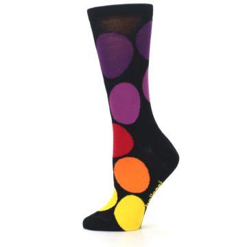Image of Black Purple Yellow Orange Circles Women's Dress Socks (side-2-12)