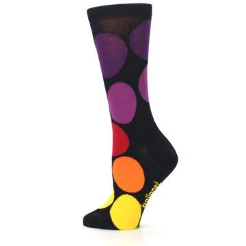 Image of Black Purple Yellow Orange Circles Women's Dress Socks (side-2-13)