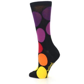 Image of Black Purple Yellow Orange Circles Women's Dress Socks (side-2-back-14)