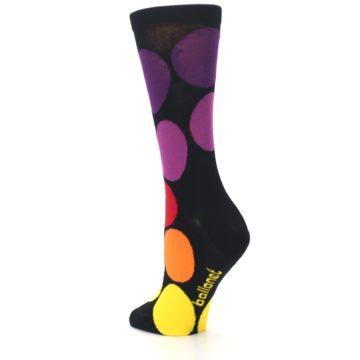Image of Black Purple Yellow Orange Circles Women's Dress Socks (side-2-back-15)