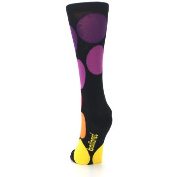 Image of Black Purple Yellow Orange Circles Women's Dress Socks (back-17)