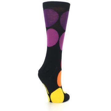 Image of Black Purple Yellow Orange Circles Women's Dress Socks (side-1-back-22)