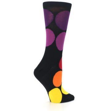 Image of Black Purple Yellow Orange Circles Women's Dress Socks (side-1-24)