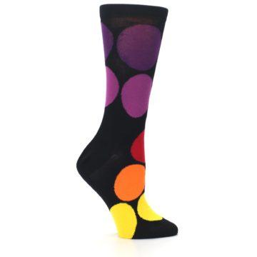 Image of Black Purple Yellow Orange Circles Women's Dress Socks (side-1-25)