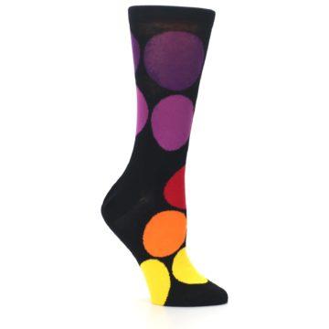 Image of Black Purple Yellow Orange Circles Women's Dress Socks (side-1-26)