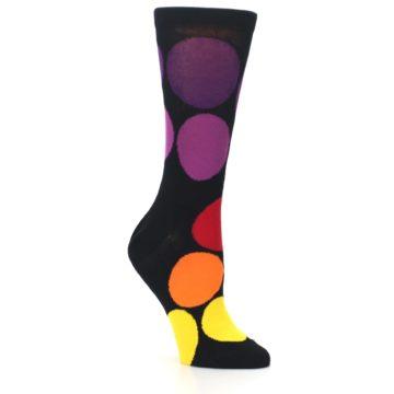 Image of Black Purple Yellow Orange Circles Women's Dress Socks (side-1-27)