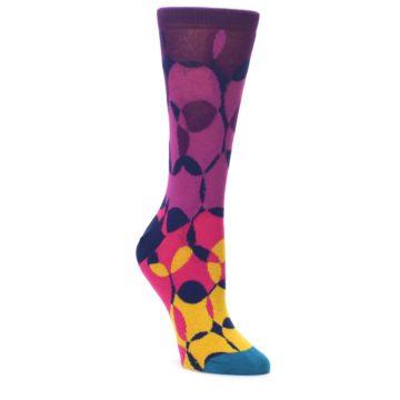Purple-Gold-Teal-Overlapping-Circles-Womens-Dress-Socks-Ballonet-Socks