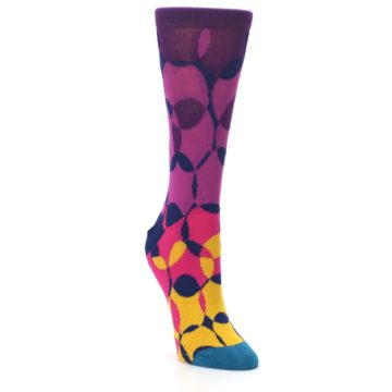 Image of Purple Gold Teal Overlapping Circles Women's Dress Socks (side-1-front-02)