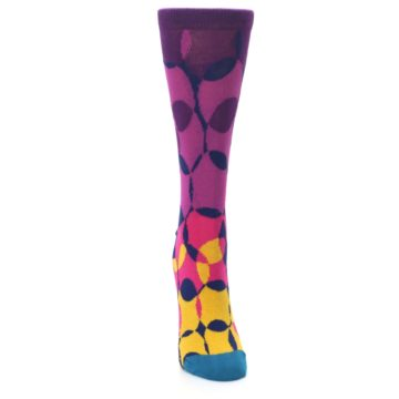 Image of Purple Gold Teal Overlapping Circles Women's Dress Socks (front-04)