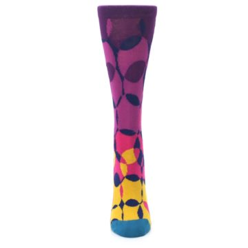 Image of Purple Gold Teal Overlapping Circles Women's Dress Socks (front-05)