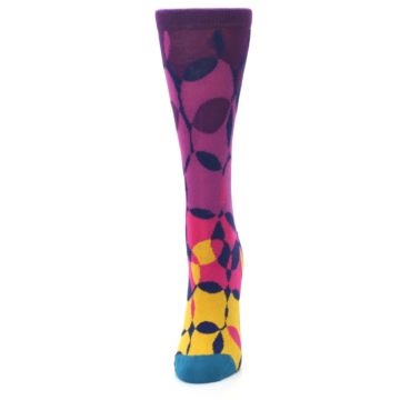 Image of Purple Gold Teal Overlapping Circles Women's Dress Socks (side-2-front-06)