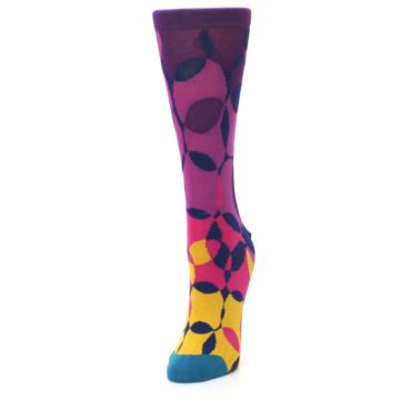 Image of Purple Gold Teal Overlapping Circles Women's Dress Socks (side-2-front-07)